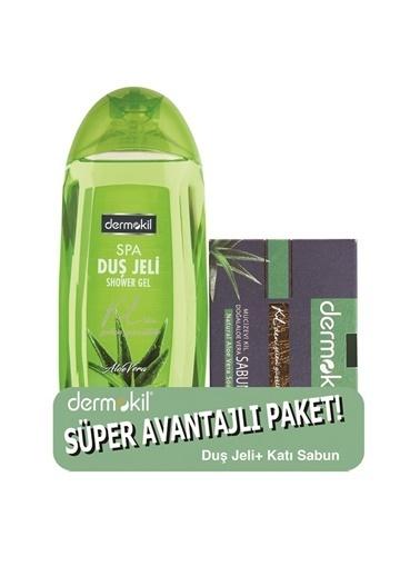 Dermokil Dermokil Aloevera Duş Jeli 500 ml + Mucizevi Kil Doğal Aloevera Sabunu 130 gr-2'li Avantajlı Set Renksiz